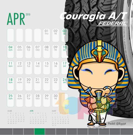 Календари от Federal (Шины). Апрель 2010 года