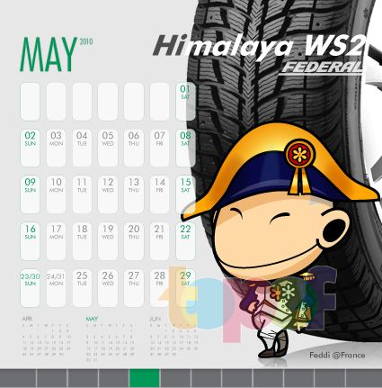 Календари от Federal (Шины). Май 2010 года