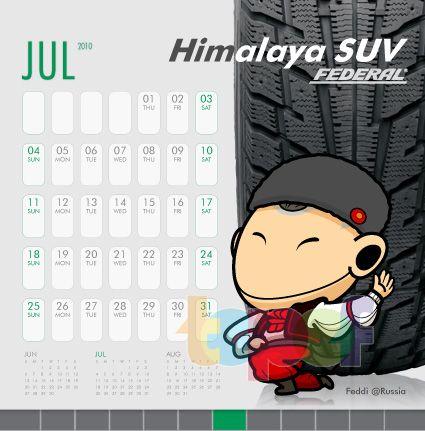 Календари от Federal (Шины). Июль 2010 года