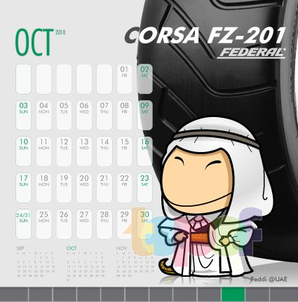 Календари от Federal (Шины). Октябрь 2010 года