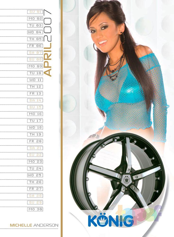 Календари от Konig (Колесные диски). Апрель 2007 года. Michelle Anderson