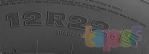 Типоразмер шин, где 12 - ширина протектора шины (в дюймах), R - строение корда, 22,5 - посадочный диаметр шины