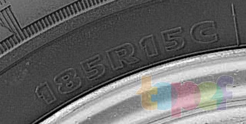 Типоразмер шины, где 185 - ширина протектора, серия опущена, R - радиальная конструкция корда, 15 - посадочный диаметр шины, C - обозначение усиленных шин