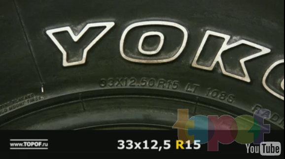 Размер внедорожных шин 33x12,5R15