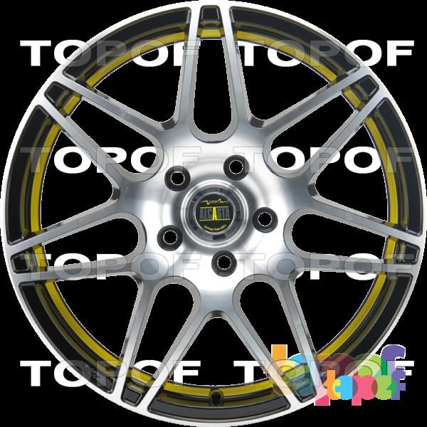 Колесные диски Alcasta M28. Цвет матовый черный с желтой полосой по внутренней стороне обода и полированной лицевой частью
