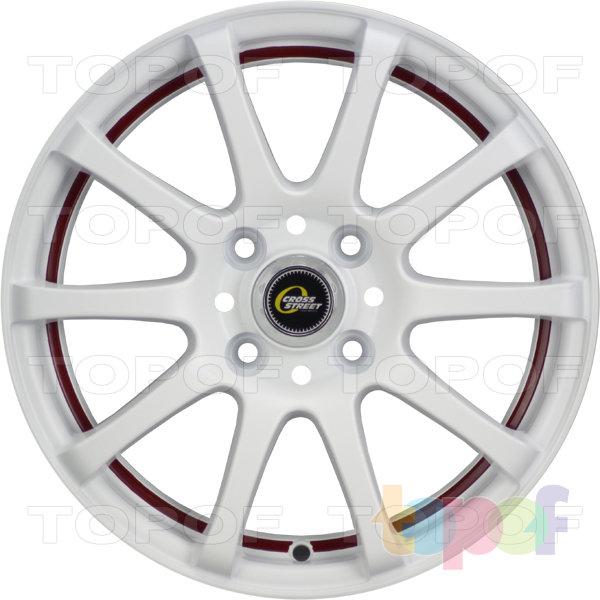 Колесные диски Cross Street Y355. Цвет матовый белый с красной полосой по внутренней стороне обода
