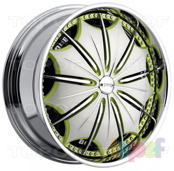 Колесные диски DUB Presidential. Цвет диска - Хромированный с зелеными вставками