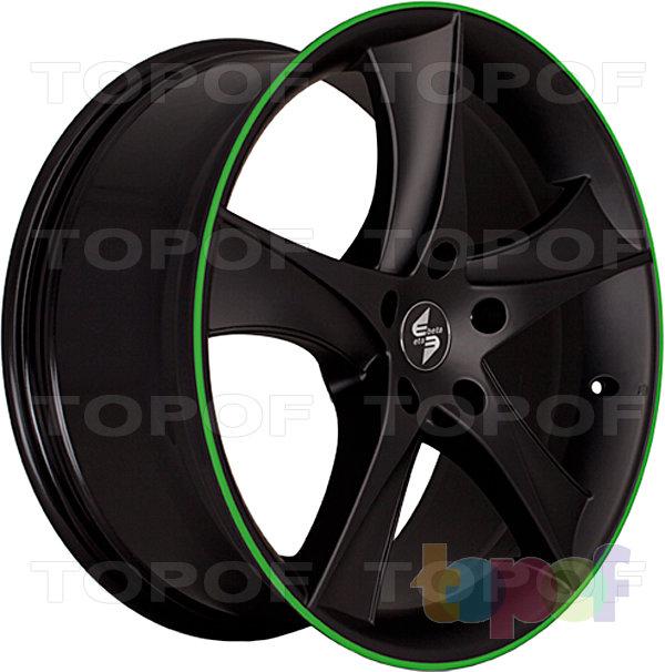 Колесные диски Eta Beta Jofiel. Цвет - черный с зеленой полосой по кромке обода