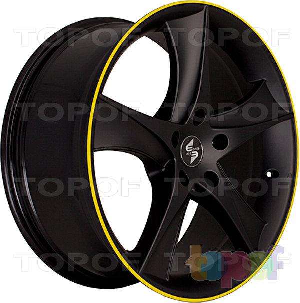 Колесные диски Eta Beta Jofiel. Цвет - черный с желтой полосой по кромке обода