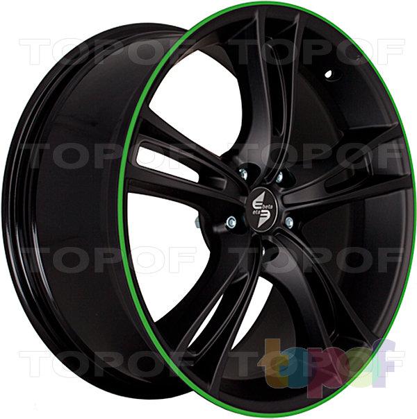 Колесные диски Eta Beta Rochel. Цвет - черный с зеленым лаком на лицевой части диска (вид сбоку)