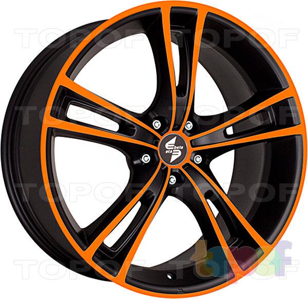 Колесные диски Eta Beta Rochel. Цвет - черный с оранжевым лаком на лицевой части диска