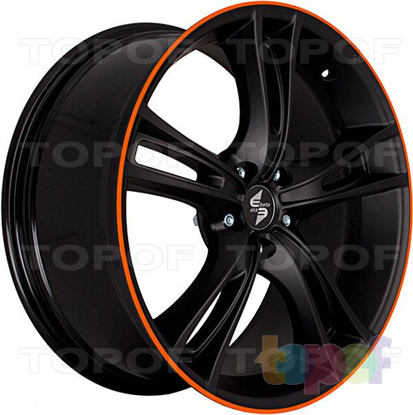 Колесные диски Eta Beta Rochel. Цвет - черный с оранжевым лаком на лицевой части диска (вид сбоку)