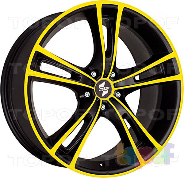 Колесные диски Eta Beta Rochel. Цвет - черный с желтым лаком на лицевой части диска