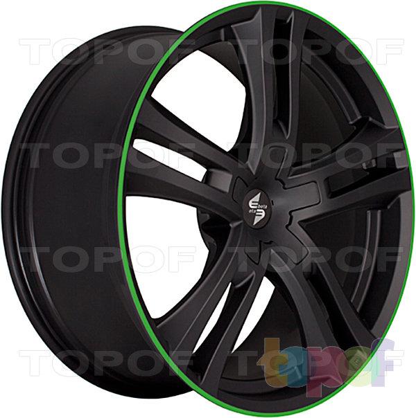 Колесные диски Eta Beta Uriel. Цвет - черный матовый с зеленой линией по кромке обода