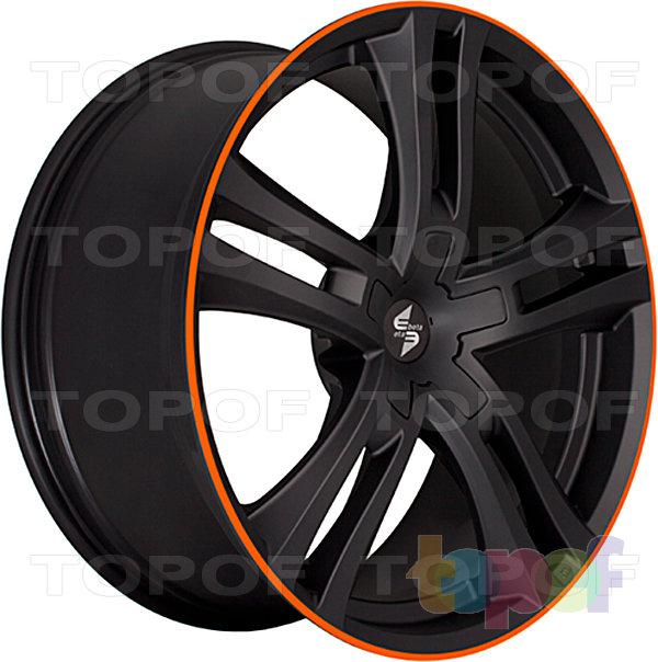 Колесные диски Eta Beta Uriel. Цвет - черный матовый с оранжевой линией по кромке обода