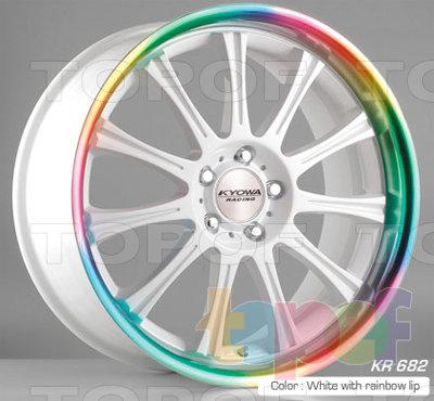 Колесные диски Kyowa KR682. Цвет White with Rainbow lip