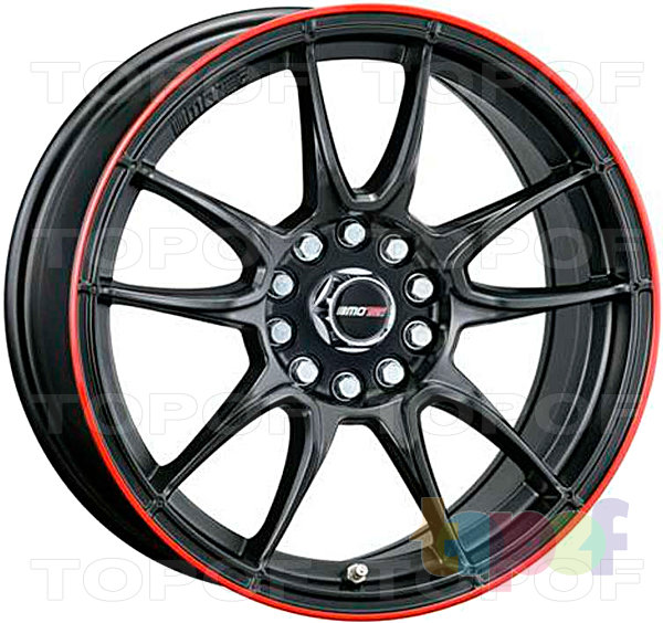 Колесные диски Motec Nitro (MCR1). Flat black with red ring