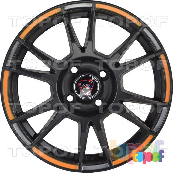 Колесные диски NZ SH670. Цвет черный матовый с оранжевыми вставками по окантовке обода
