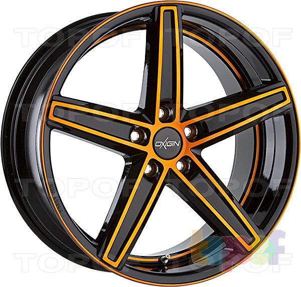 Колесные диски Oxigin 18 Concave. Черный с полированной лицевой стороной, подрезом обода и оранжевым глянцевым лаком