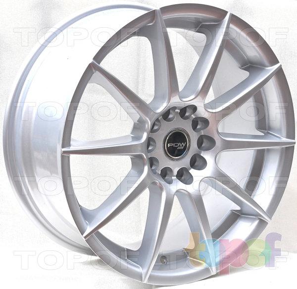 Колесные диски PDW Spyder. Crystal Silver with Blue Racing Cap