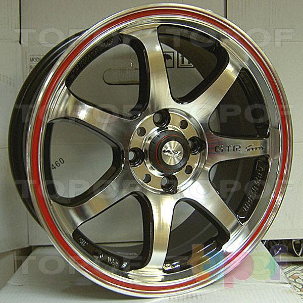 Колесные диски R1 Sport 356. Цвет - металический с красной полоской по ободу