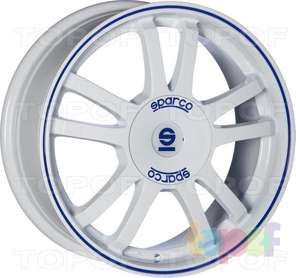 Колесные диски Sparco Rally. Цвет - белый с синей полосой