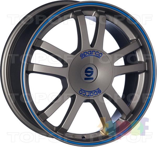 Колесные диски Sparco Rally. Цвет - матовый серебряный с синей полосой