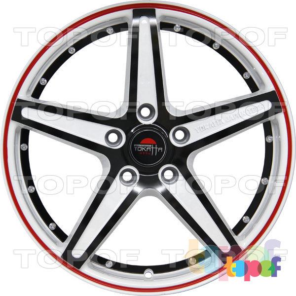 Колесные диски Yokatta Model-11. Цвет белый с красной полосой по краю обода и черной окантовкой лучей