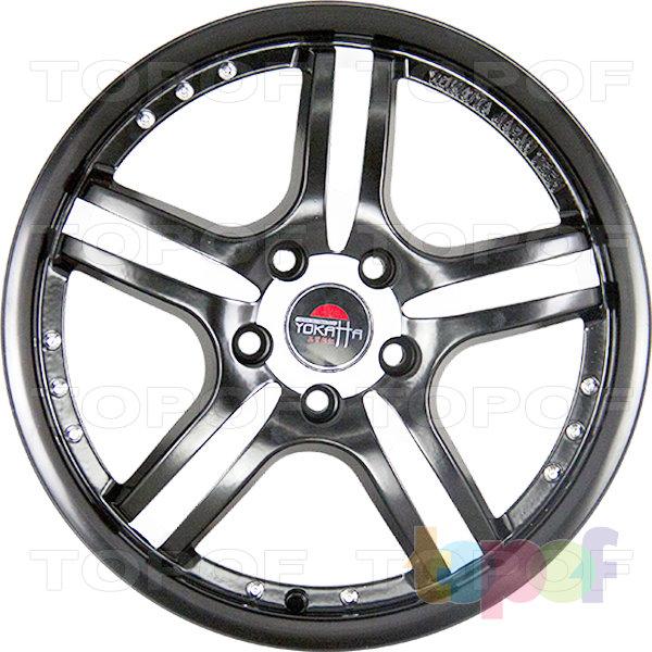 Колесные диски Yokatta Model-12. Цвет матовый черный с белыми матовыми желобами