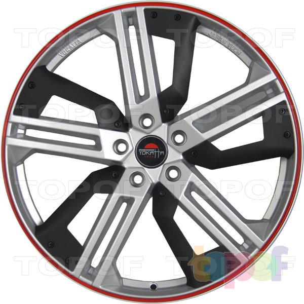 Колесные диски Yokatta Model-16. Цвет серебристый с красной полосой по ободу и пластиковой вставкой