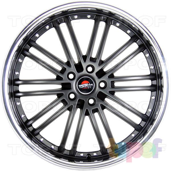 Колесные диски Yokatta Model-24. Цвет матовый черный с полированным ободом