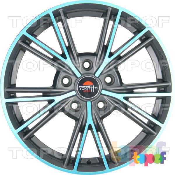 Колесные диски Yokatta Model-26. Цвет матовый черный с голубыми прожилками лучей и по краю обода