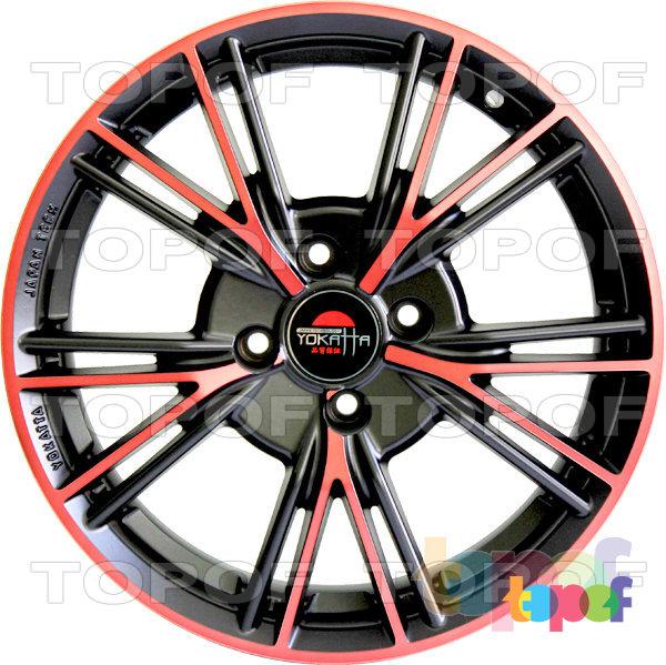 Колесные диски Yokatta Model-26. Цвет матовый черный с красными прожилками лучей и по краю обода