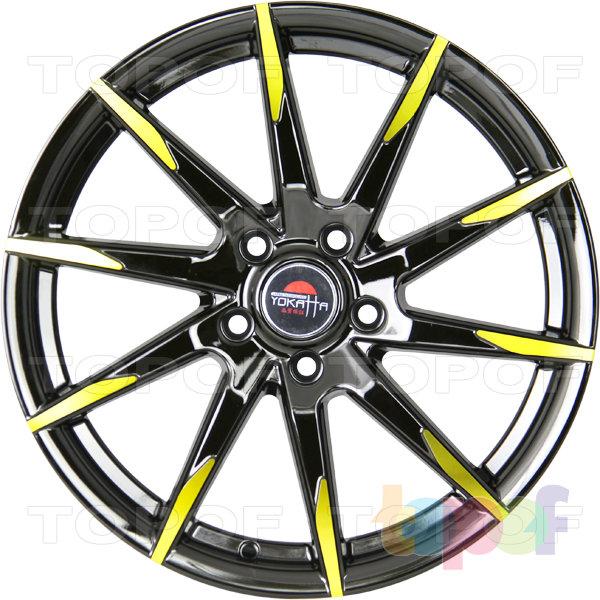 Колесные диски Yokatta Model-32. Цвет матовый черный с желтыми элементами на лучах