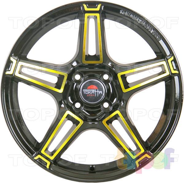 Колесные диски Yokatta Model-35. Цвет матовый черный с желтой окантовкой лучей