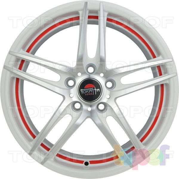 Колесные диски Yokatta Model-502. Цвет белый полированный с красной каймой по внутренней стороне обода