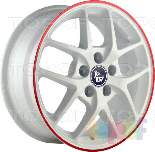 Колесные диски YST x8. Белый с красной полоской по ободу