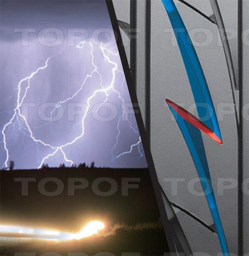Технология шины Bridgestone MY-02 Sporty Style. Рисунок протектора в виде молнии